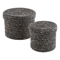 Black Round Jute Box with Lid