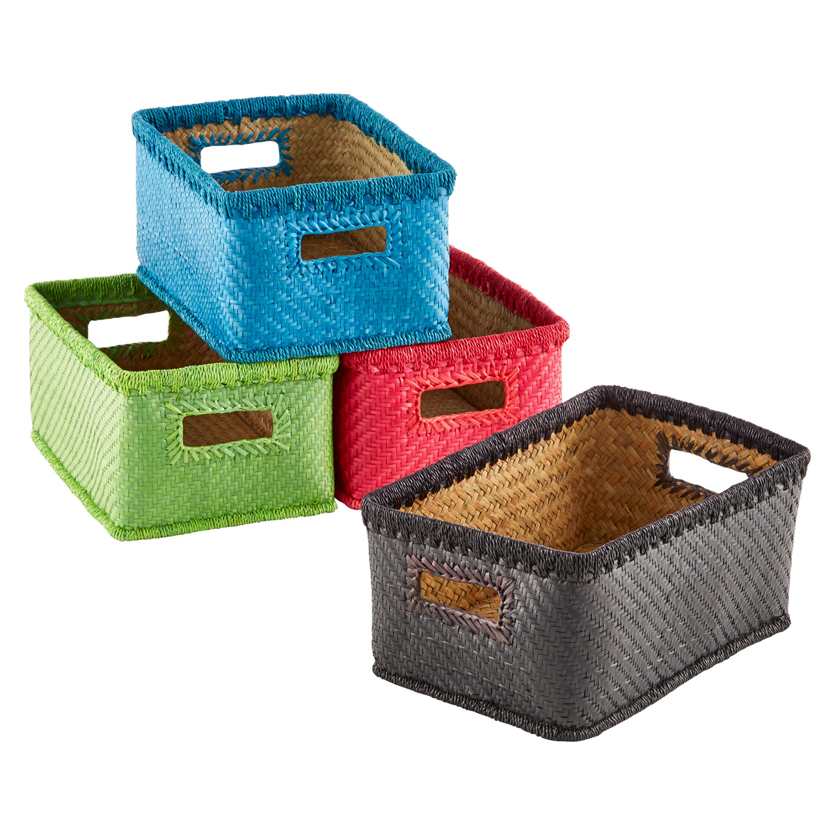 Small Palm Leaf Woven Storage Bins with Handles  sc 1 st  The Container Store & Small Palm Leaf Woven Storage Bins with Handles | The Container Store