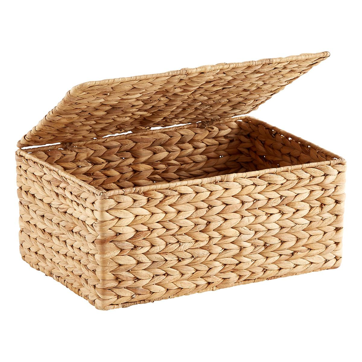 Small Water Hyacinth Storage Box With Hinged Lid The