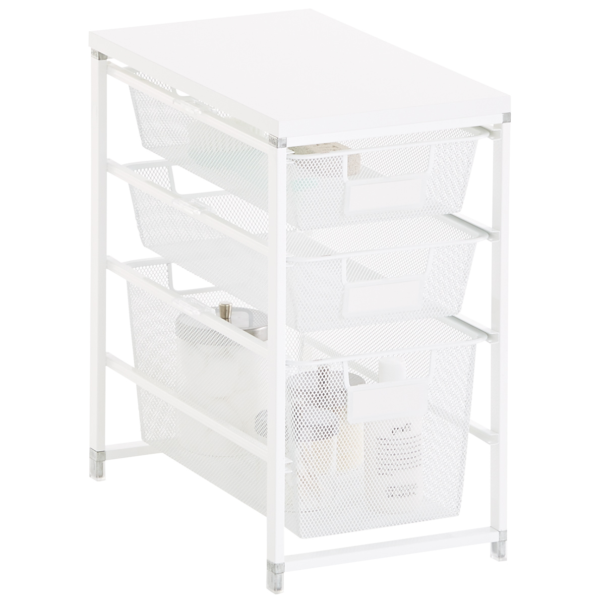 Elfa White Cabinet-Sized Mesh Bath Storage