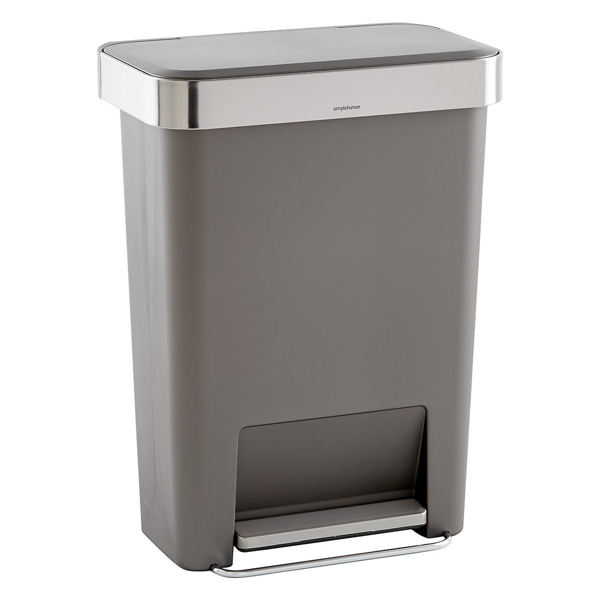 Simplehuman grey 12 gal rectangular trash can with liner pocket the container store - Rectangular garbage cans ...