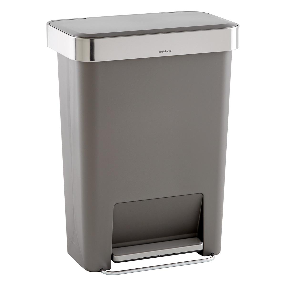 rectangular trash can with liner pocket
