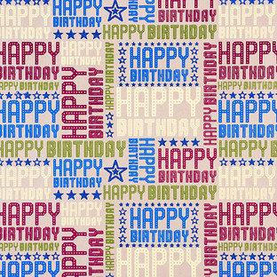 Vivid Wrap Happy Birthday Blue Brights Kraft Recycled Wrapping Paper