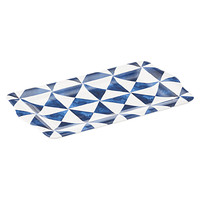 White & Navy Triangles Melamine Platter