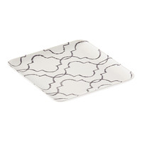 White and Grey Quatrefoil Melamine Plate