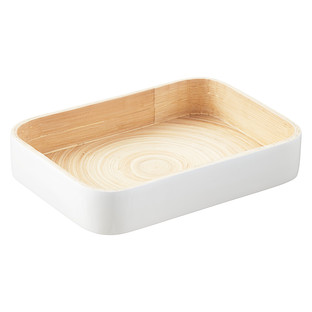 White Lacquered Bamboo Serving Tray