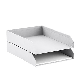 Bigso White Stockholm Stackable Letter Trays Set of 2
