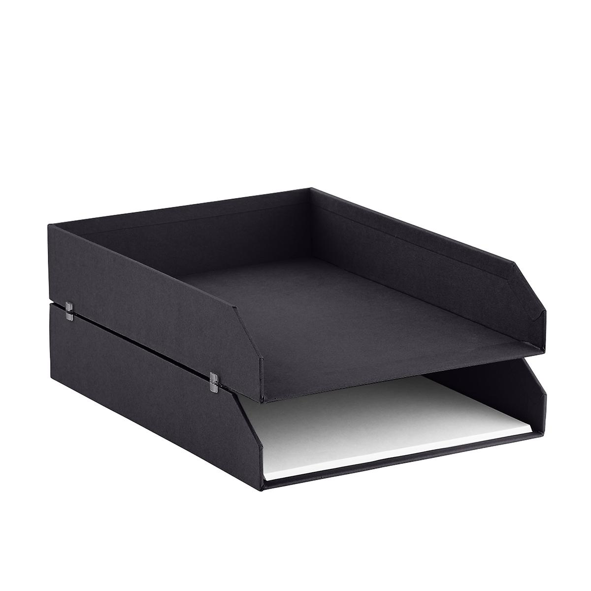 Bigso Graphite Stockholm Stackable Letter Trays Set of 2