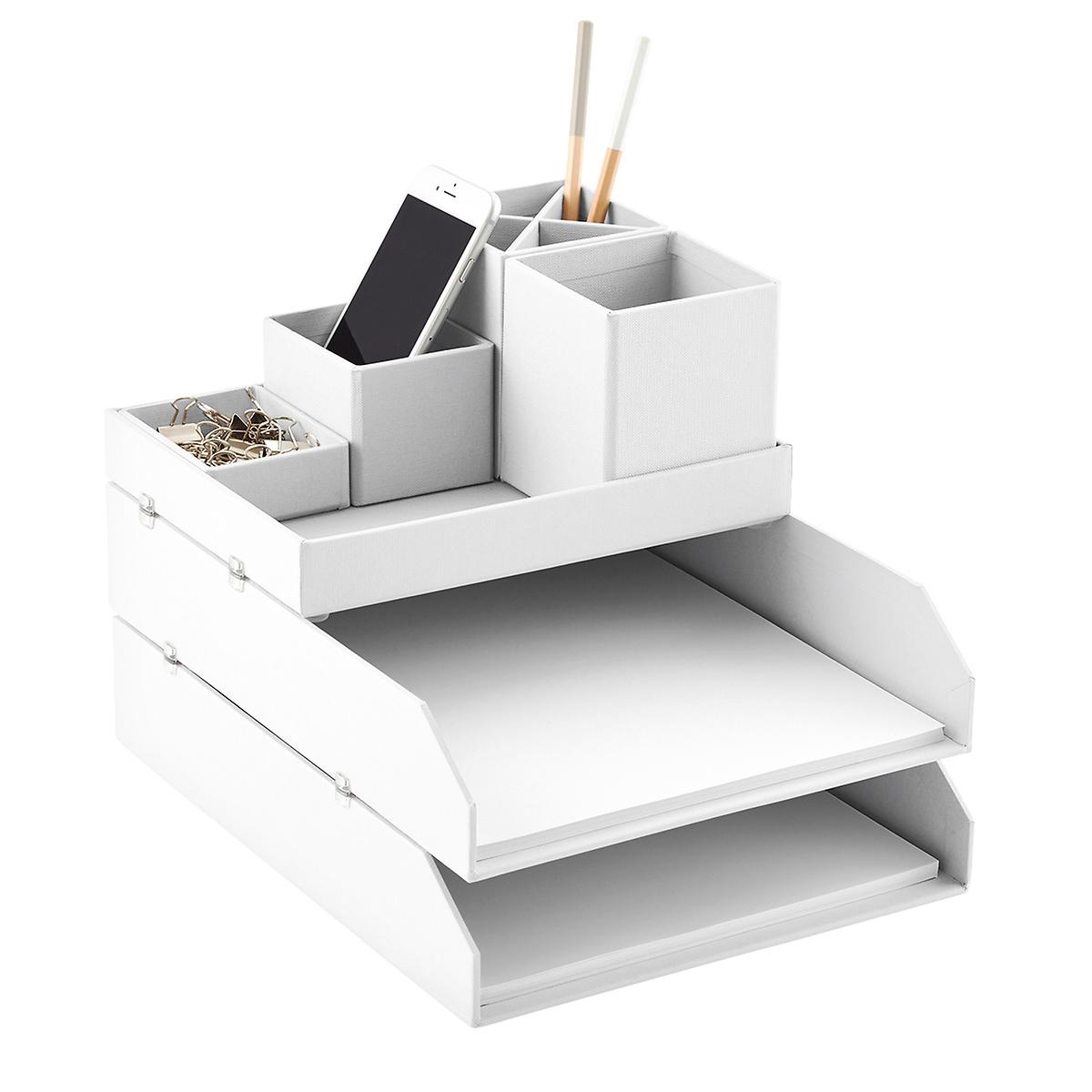 Bigso white stockholm desktop organizer the container store - Desk organizer white ...