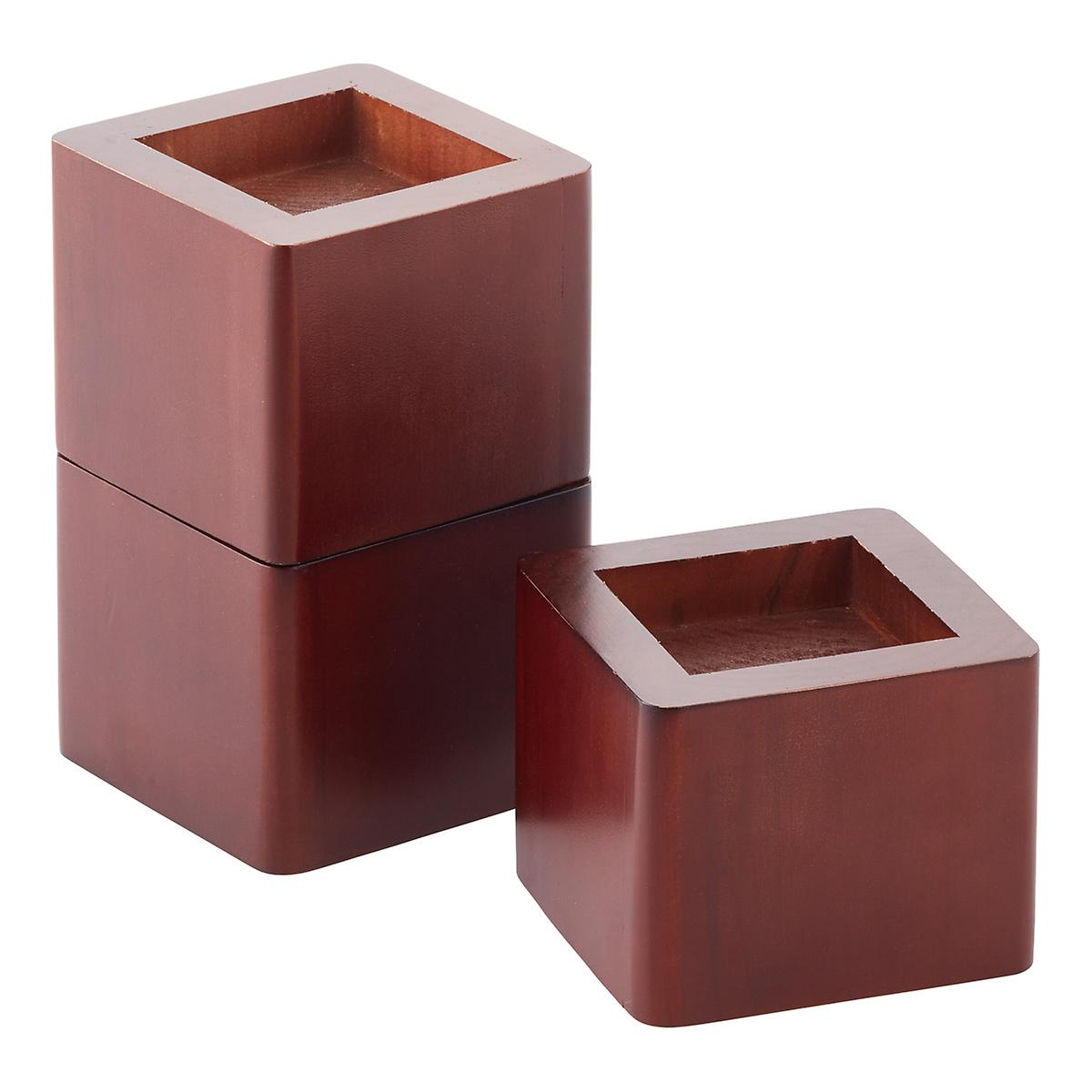 Set Of 4 Walnut Solid Wood Bed Risers The Container Store