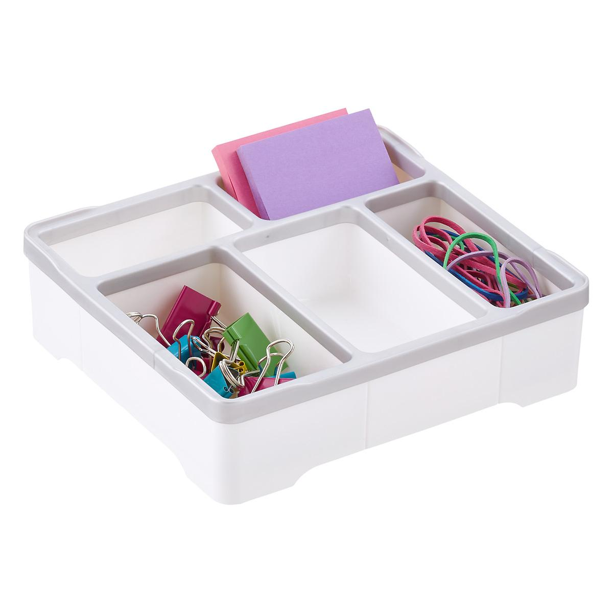 5 compartment square desk organizer the container store - Drawer desk organizer ...
