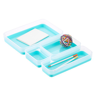 Clear & Aqua Drawer Organizer Trays