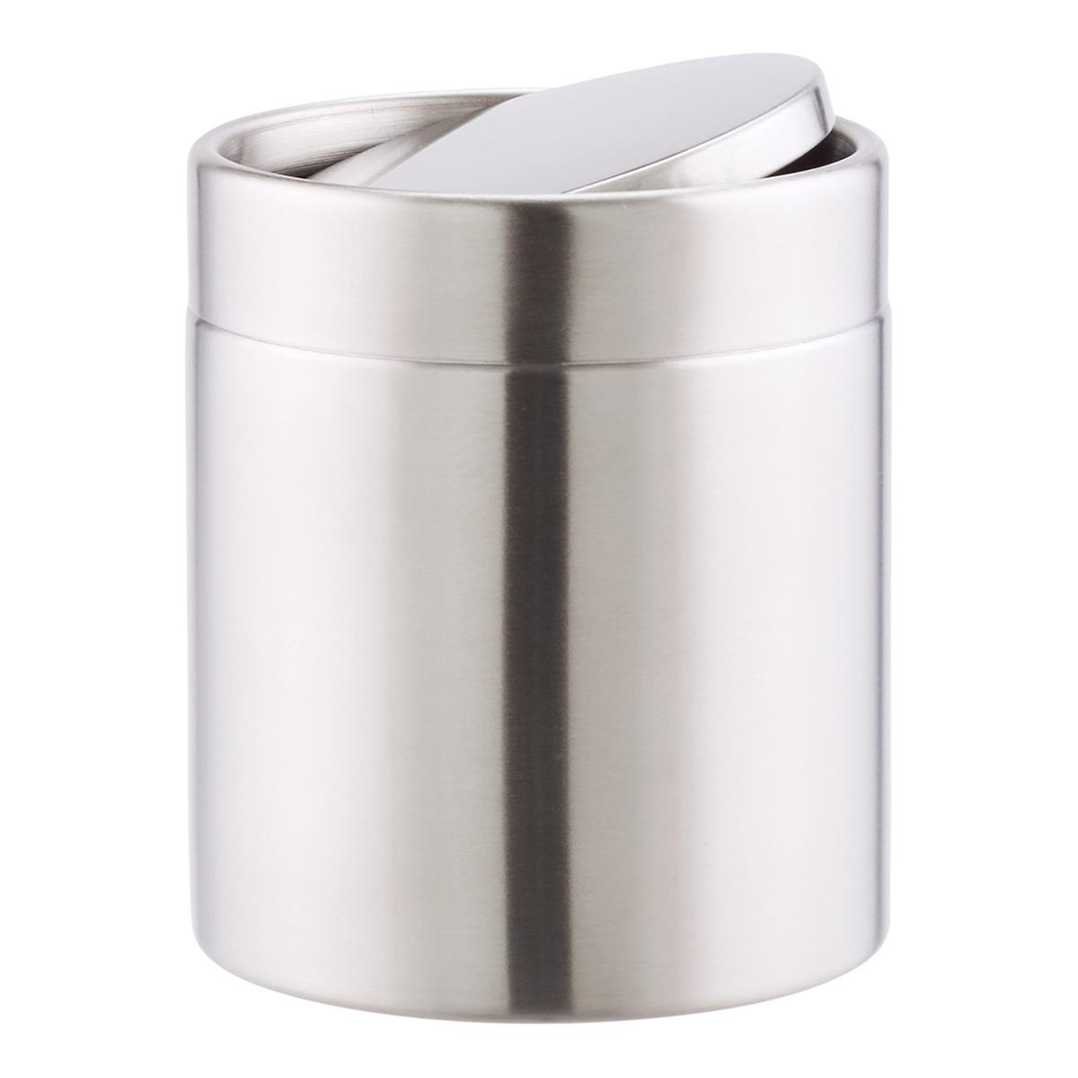 Stainless steel swing lid countertop trash can the container store - Small trash can with lid ...