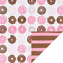 Pink Donuts & Stripes Reversible Wrapping Paper