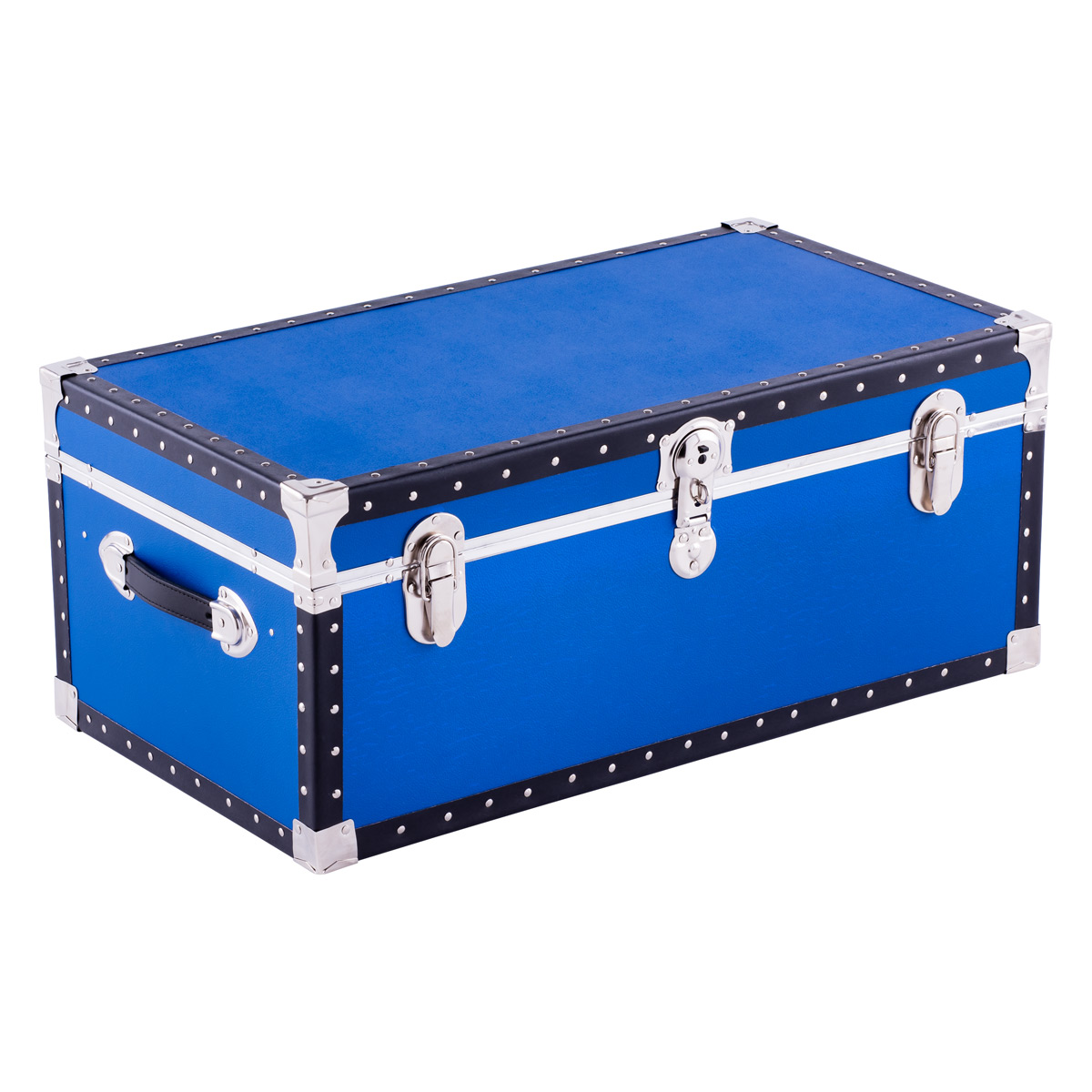 Blue Footlocker with Tray   The Container Store