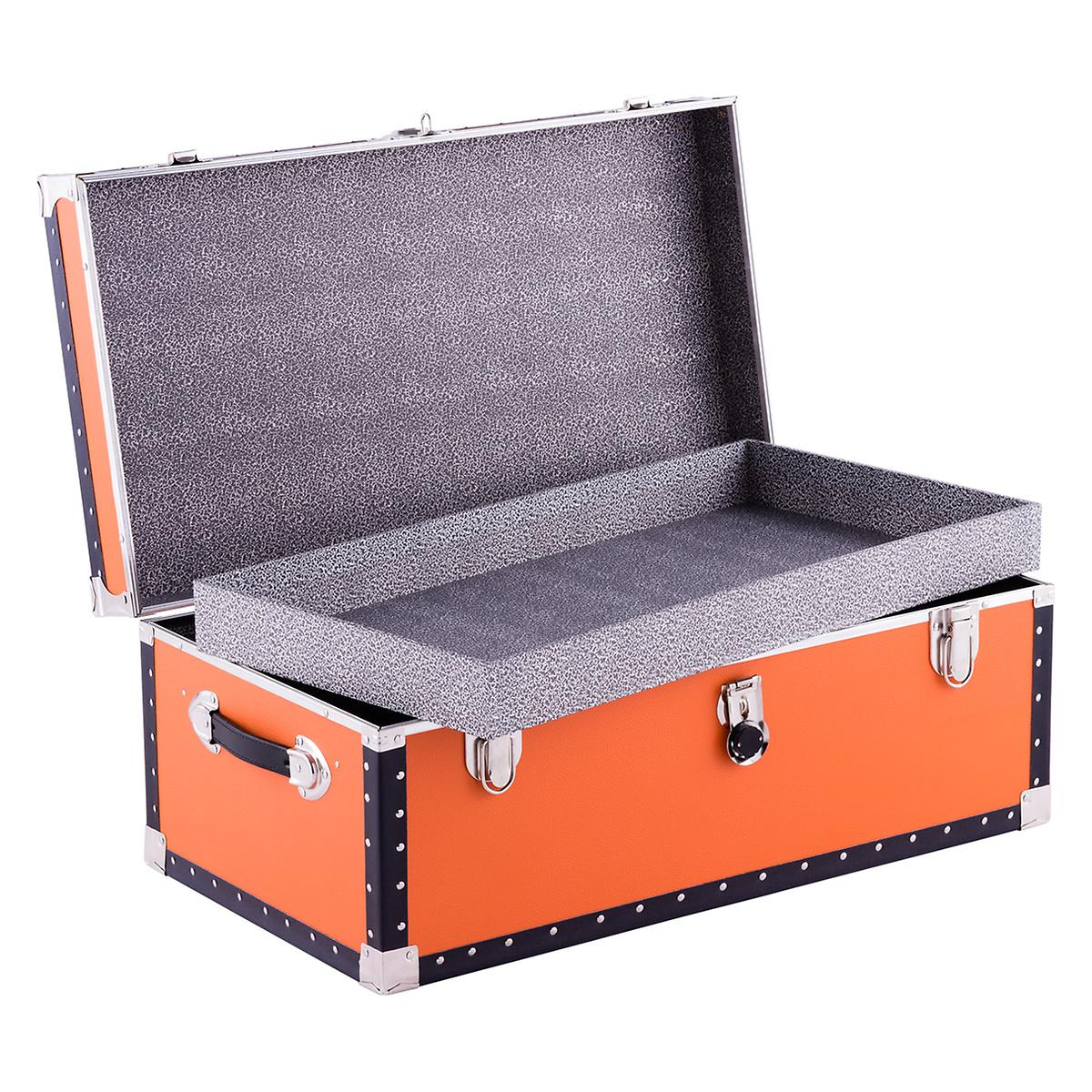 Orange footlocker with tray the container store - Footlockers storage ...
