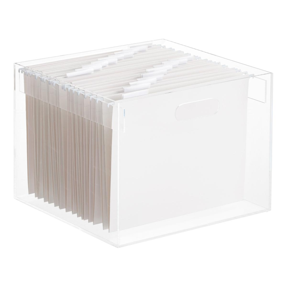 stacking acrylic hanging file box the container store. Black Bedroom Furniture Sets. Home Design Ideas