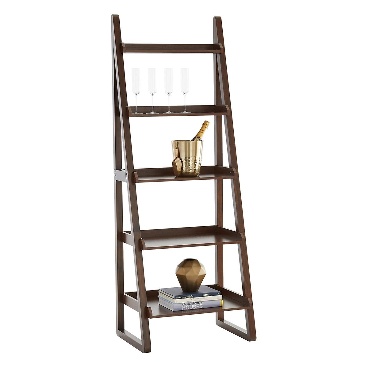 Walnut Encore Ladder Shelf | The Container Store