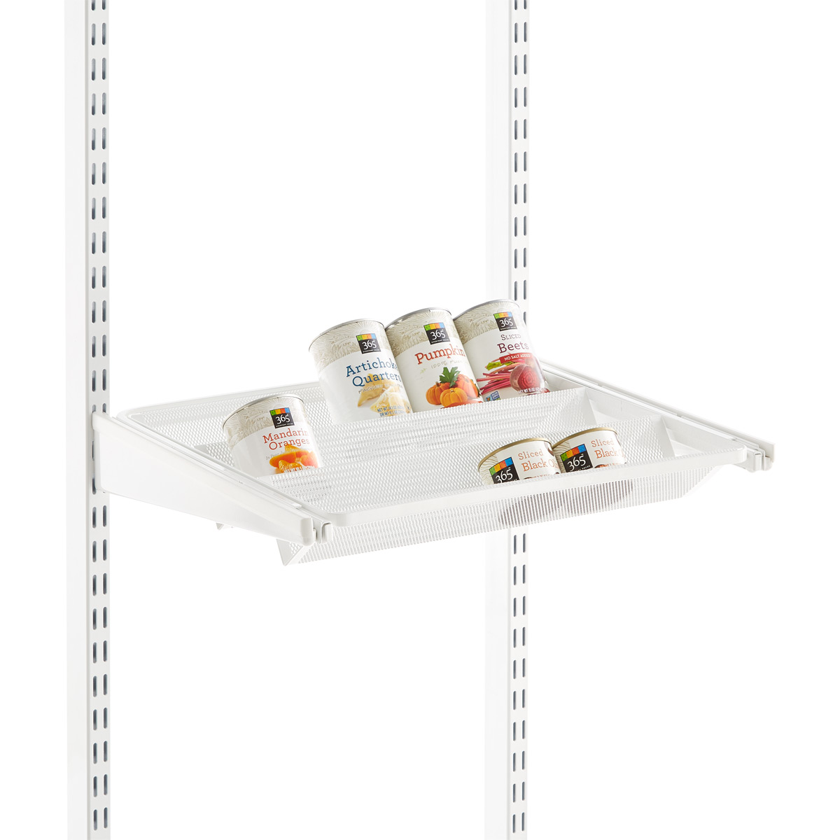White Elfa Gliding Tiered Shelves