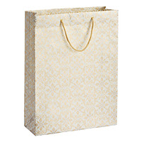 Jumbo Gold & Silver Scroll Floral Gift Tote
