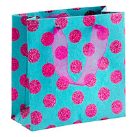 Mini Pink Glitter Dots on Turquoise Recycled Gift Bag