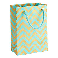 Small Aqua Chevron Recycled Gift Tote