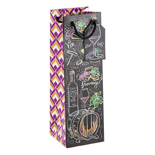 Chalkboard Wine Drawings Bottle Tote
