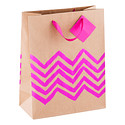 Large Pink Metallic Stripe Kraft Tote