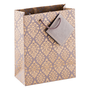 Medium Charcoal & Gold Medallion Recycled Gift Bag