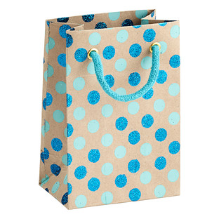 Vivid Wrap Small Blue Glitter Dots Recycled Gift Bag