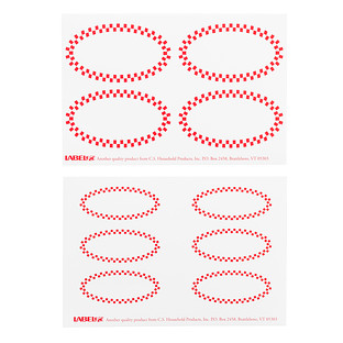 Red Check Oval Decorative Labels