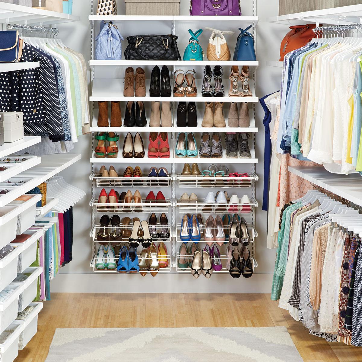 white elfa dcor walkin clothes closet