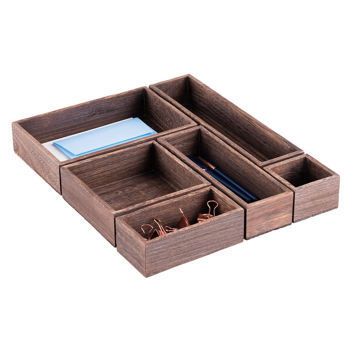 Feathergrain wooden drawer organizers the container store