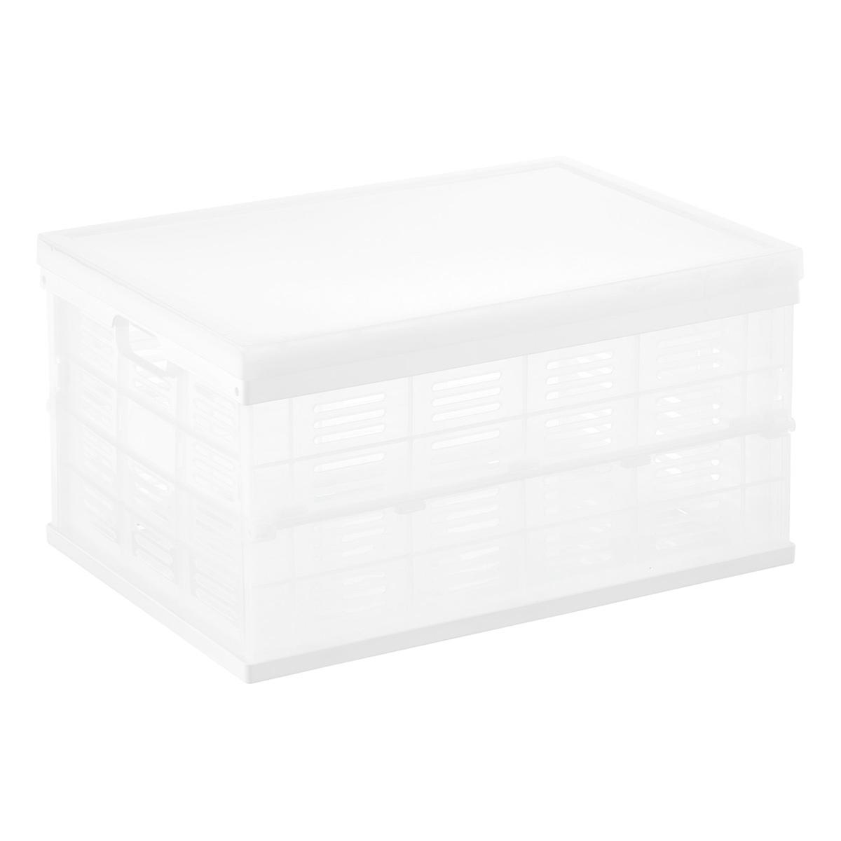 White Collapsible Crate with Clear Lid