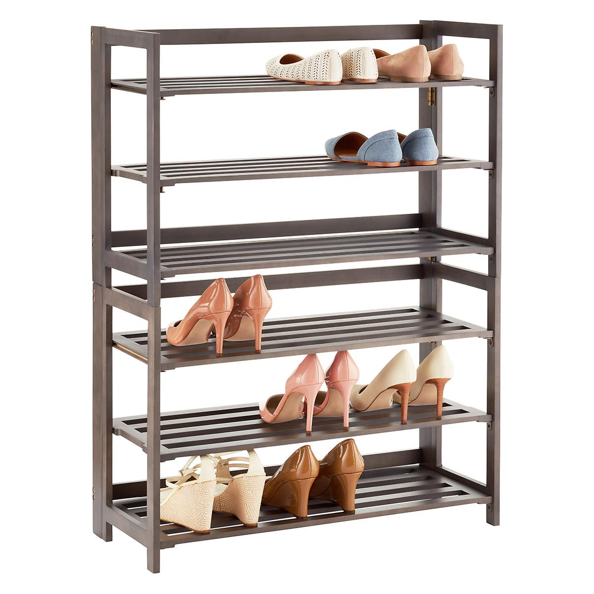 3 tier driftwood folding shoe rack the container store. Black Bedroom Furniture Sets. Home Design Ideas