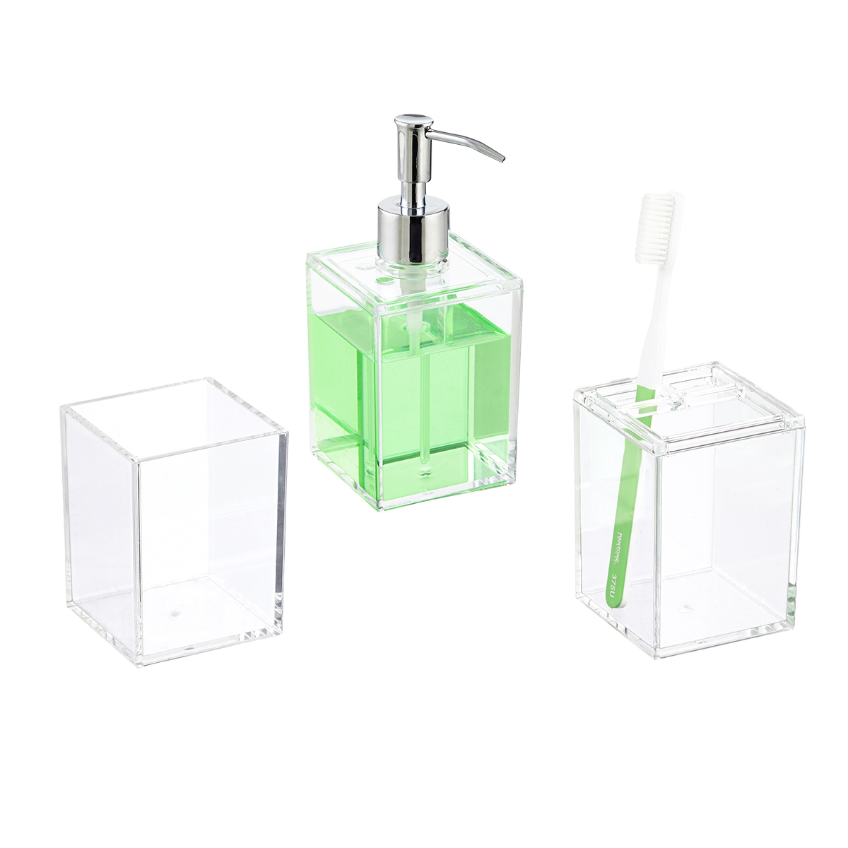 Clear Acrylic Countertop Bathroom Set