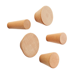 Three by Three Natural Hob Knob Solid Wood Wall Pegs