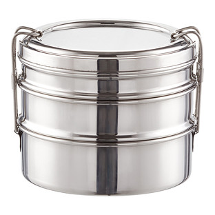 ECOlunchbox Stainless Steel Round 3-in-1 Bento Box