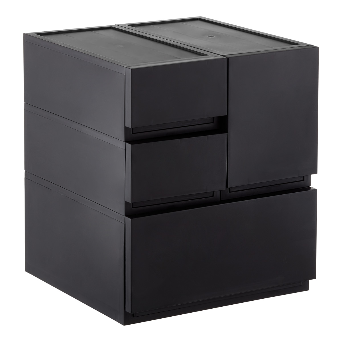 Black Opaque Modular Stackable Drawers ...