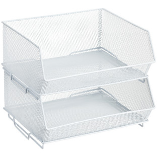 White Mesh Stacking Cabinet Bin