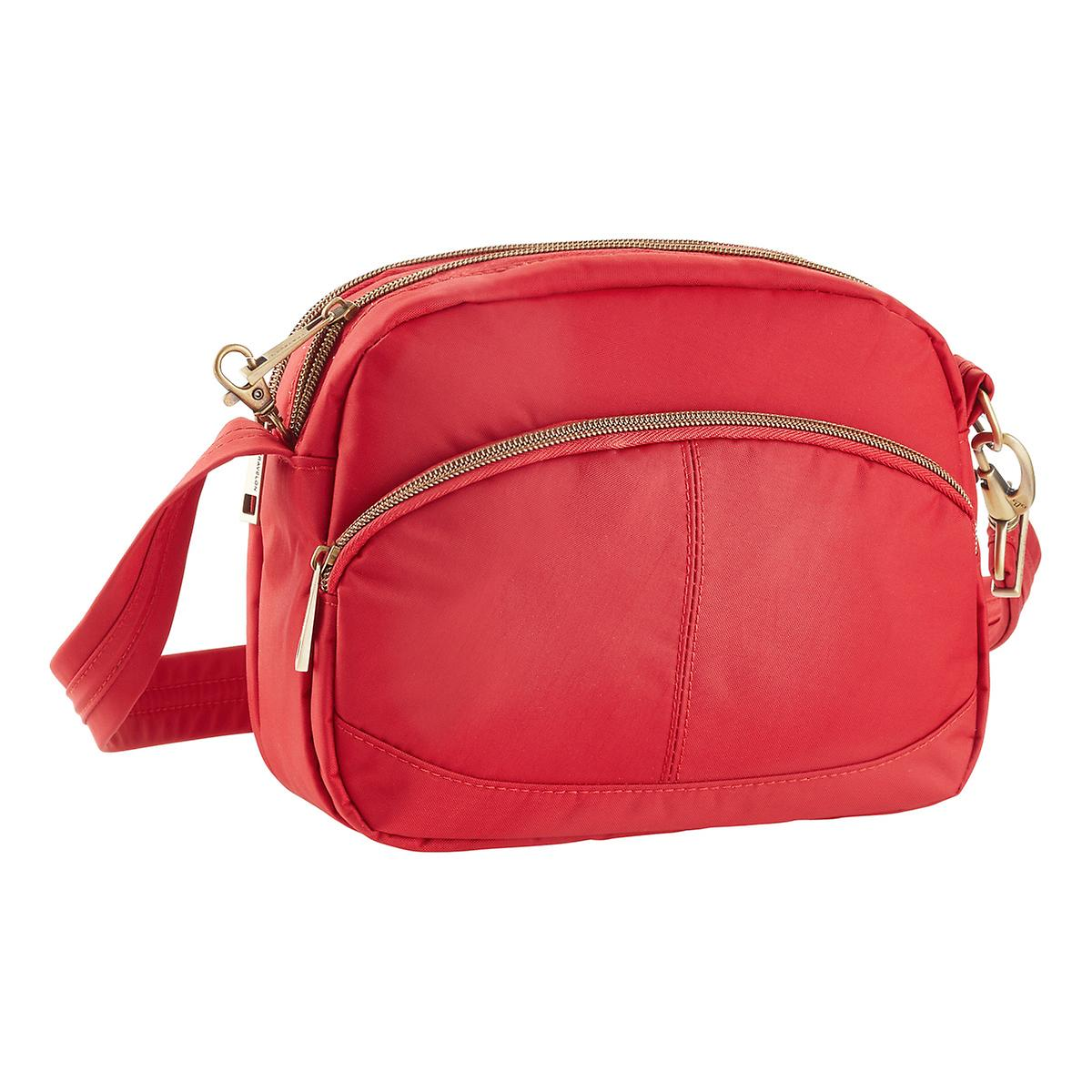 Travelon Small Red Anti-Theft Signature Shoulder Bag