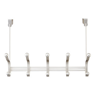 InterDesign Satin Nickel York Over the Door 5-Hook Rack