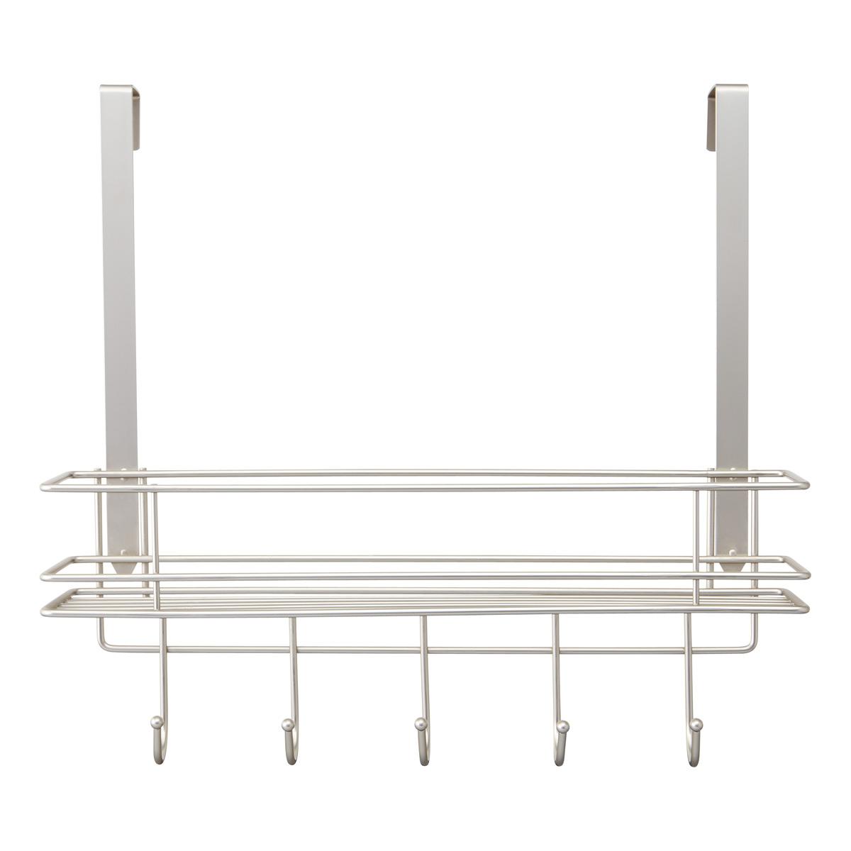 Satin Nickel Over the Door 5-Hook Rack with Basket