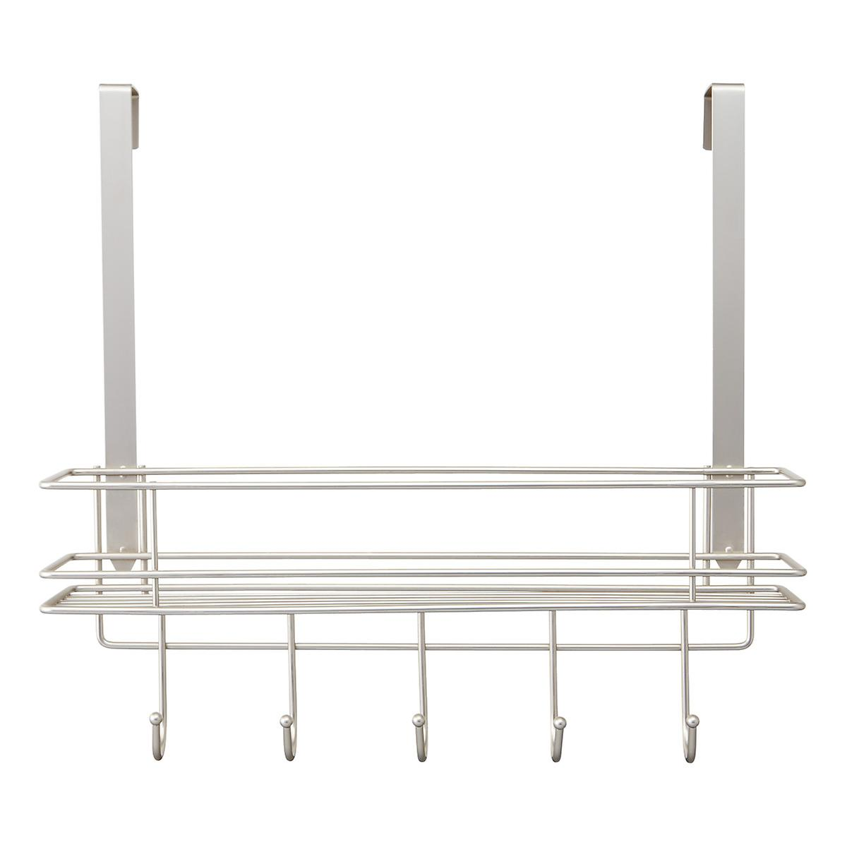 Satin Nickel Over the Door 5-Hook Rack with Basket