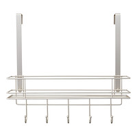 Satin Nickel Over the Door 5 Hook Rack with Basket