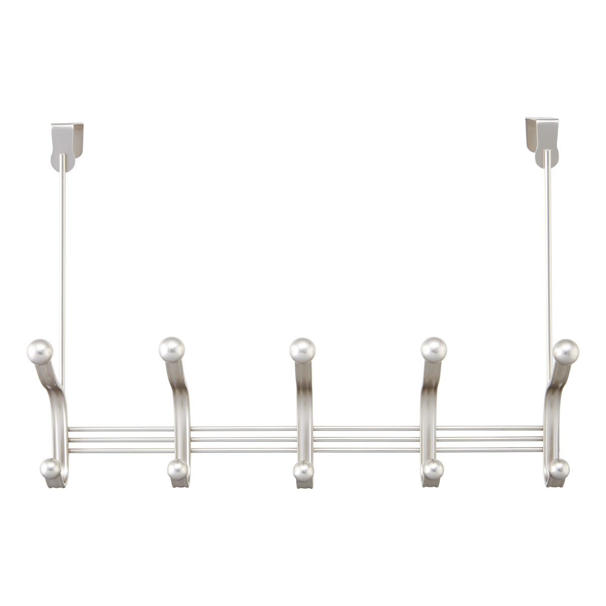 iDesign Satin Nickel York Over the Door 5-Hook Rack