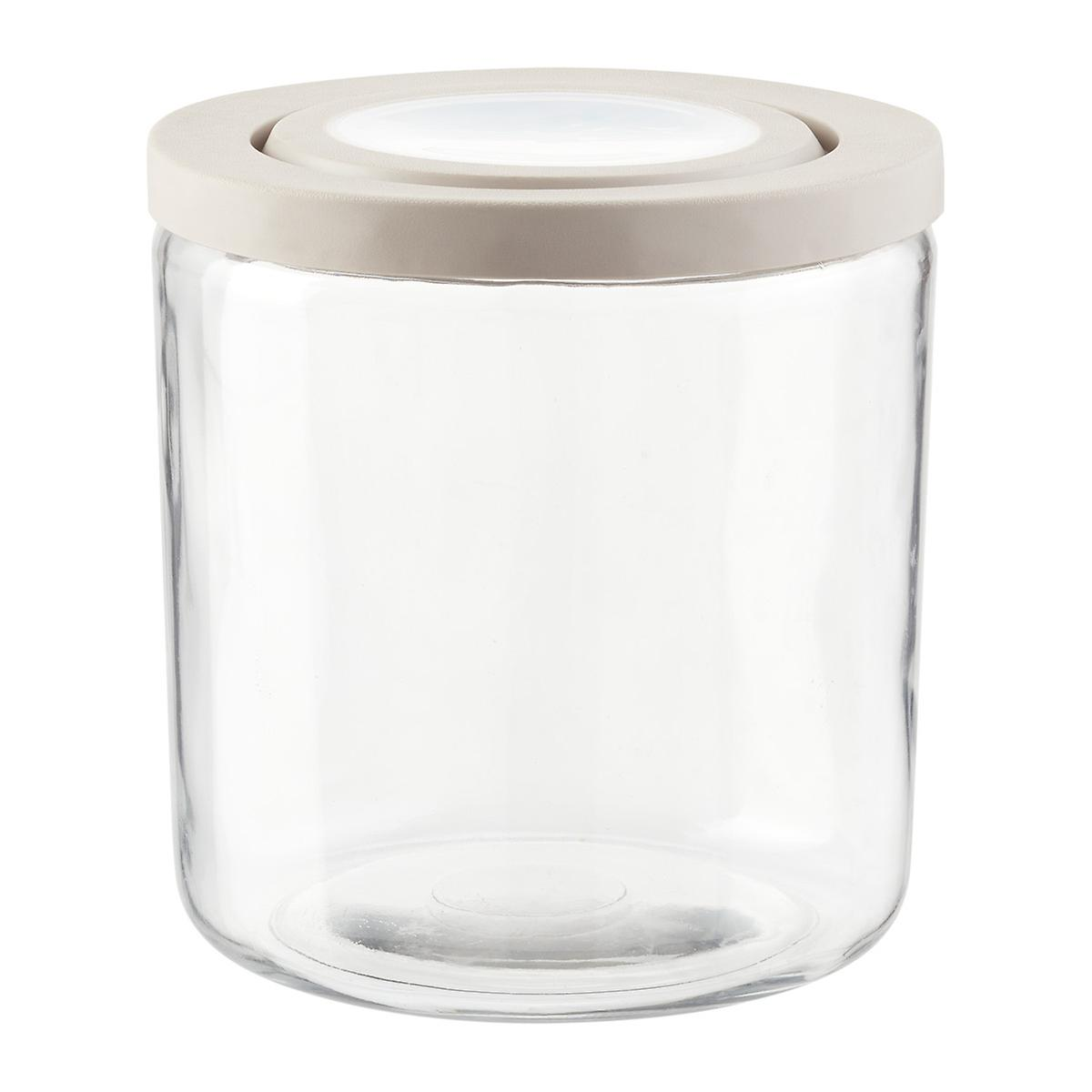 Anchor Hocking Truefit Glass Jars With Grey Lids The
