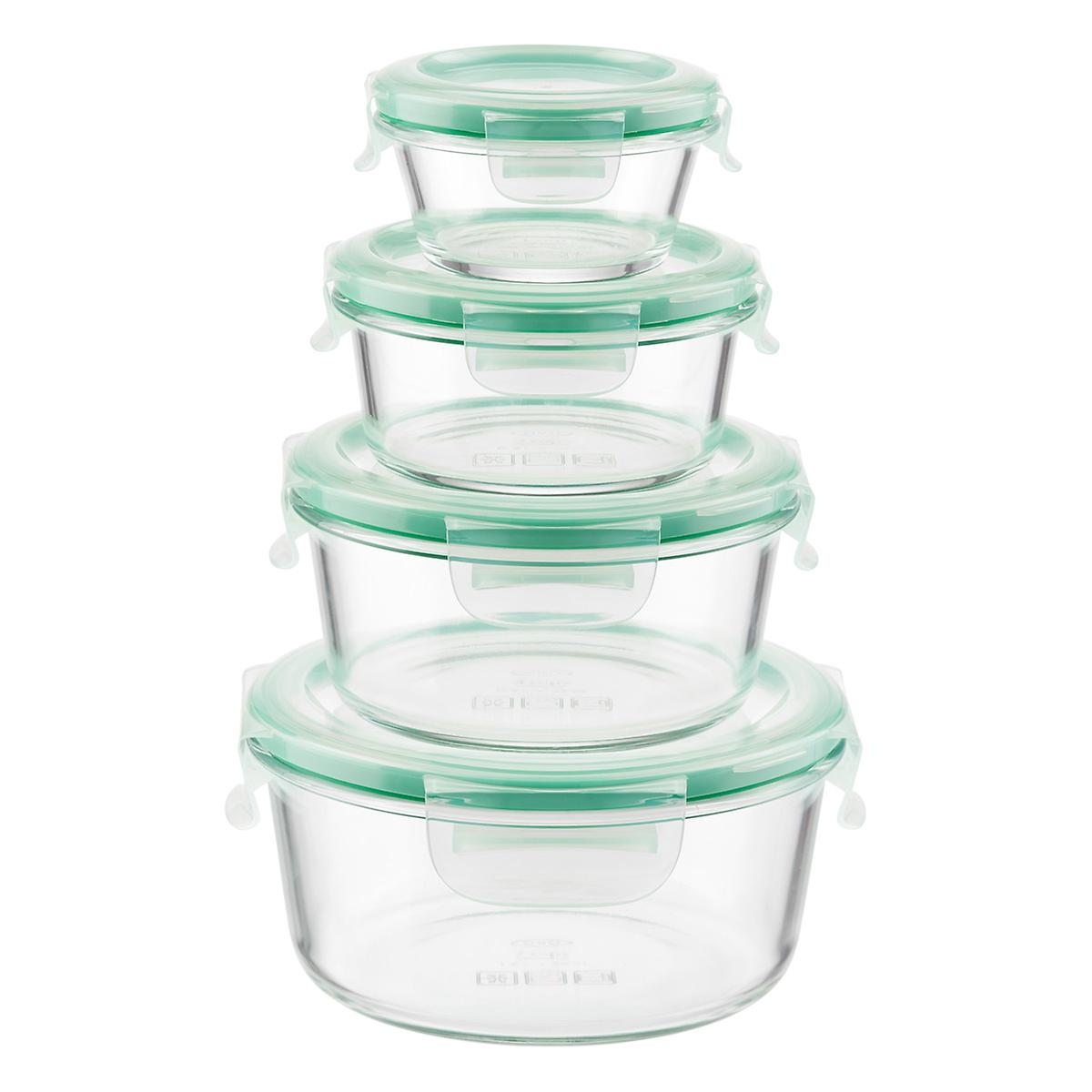 Oxo Good Grips 8 Piece Smart Seal Round Glass Food Storage