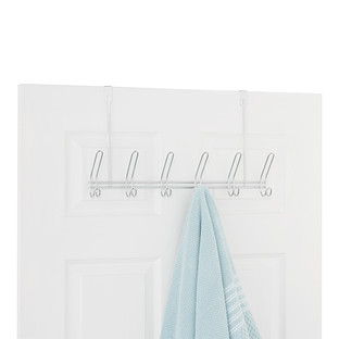 InterDesign Chrome 6-Hook Over the Door Rack