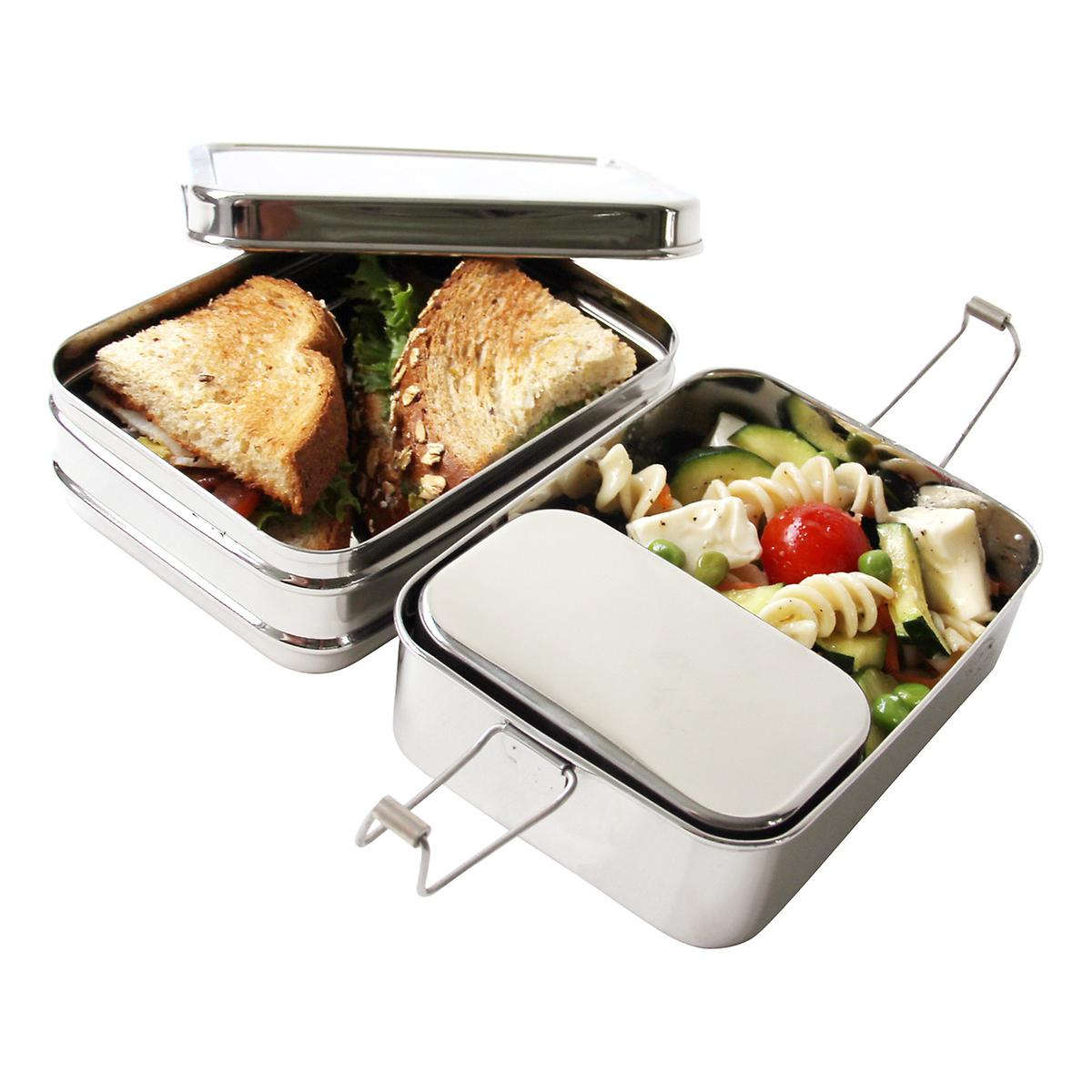1a92d959597 ECOlunchbox Stainless Steel Rectangular 3-in-1 Lunch Box